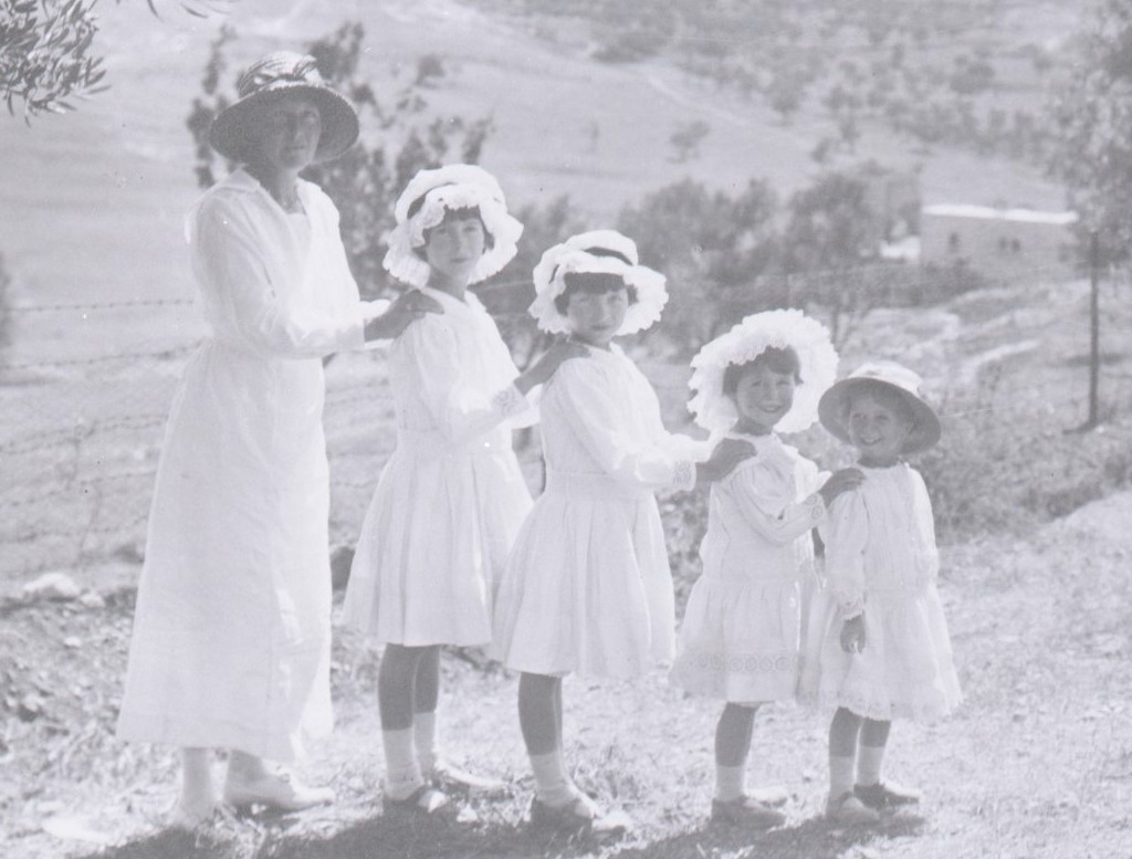 Janet with four children